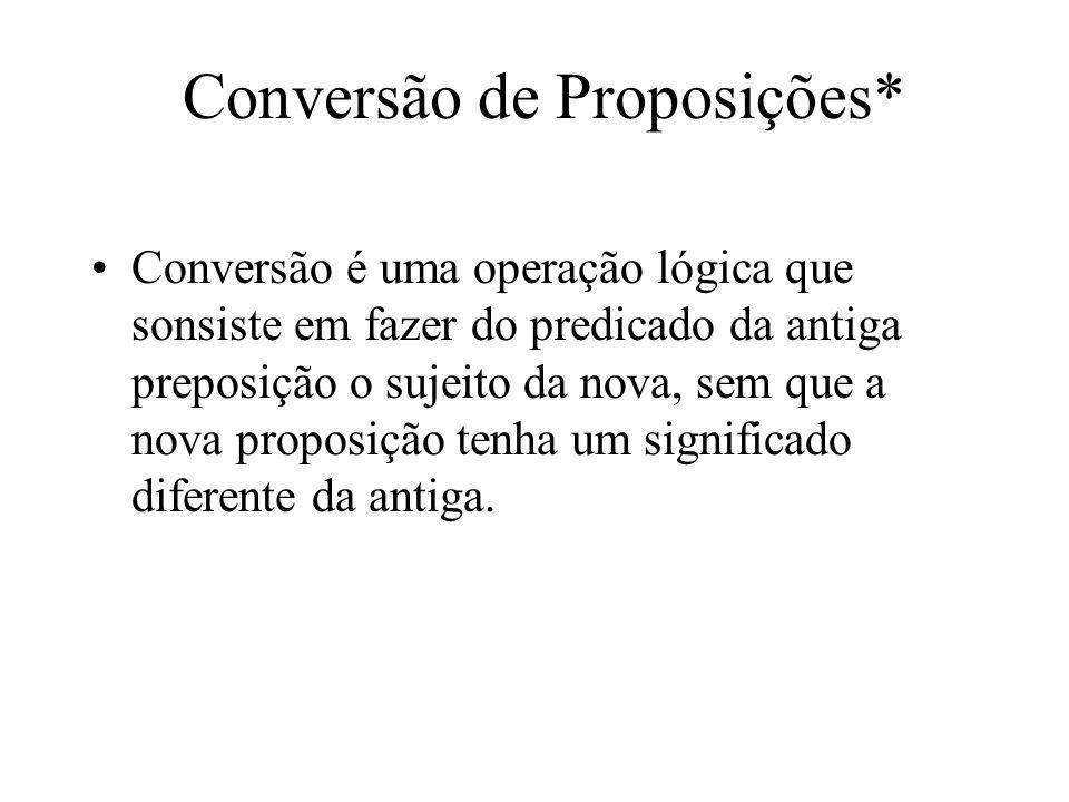 Conversão de Proposições* Conversão é uma operação lógica que sonsiste em fazer do predicado da antiga preposição o sujeito da nova, sem que a nova pr