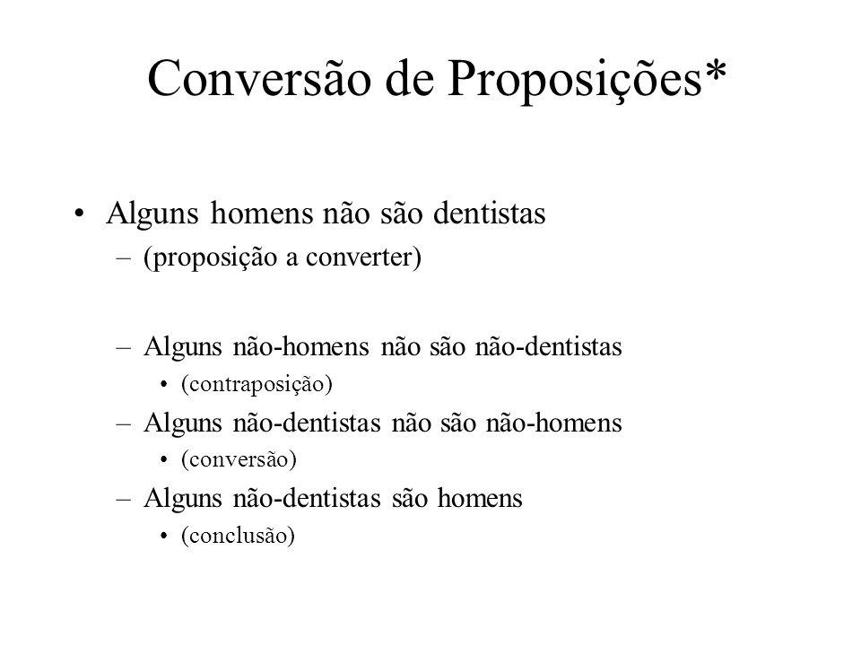 Conversão de Proposições* Alguns homens não são dentistas –(proposição a converter) –Alguns não-homens não são não-dentistas (contraposição) –Alguns n