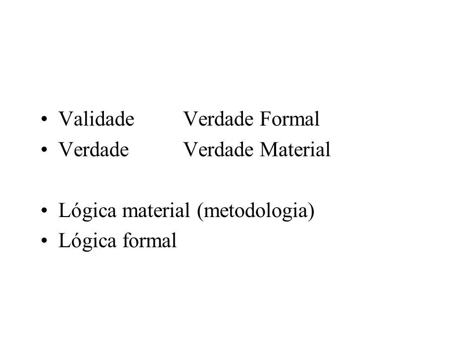ValidadeVerdade Formal VerdadeVerdade Material Lógica material (metodologia) Lógica formal