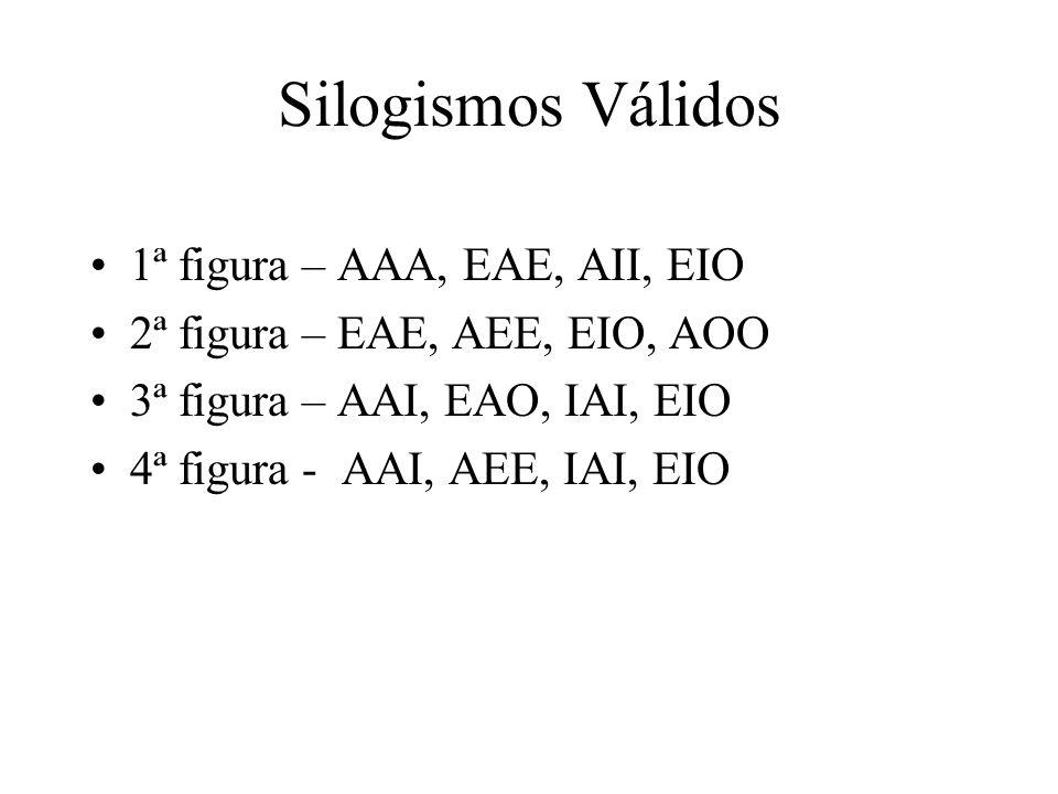 Silogismos Válidos 1ª figura – AAA, EAE, AII, EIO 2ª figura – EAE, AEE, EIO, AOO 3ª figura – AAI, EAO, IAI, EIO 4ª figura - AAI, AEE, IAI, EIO