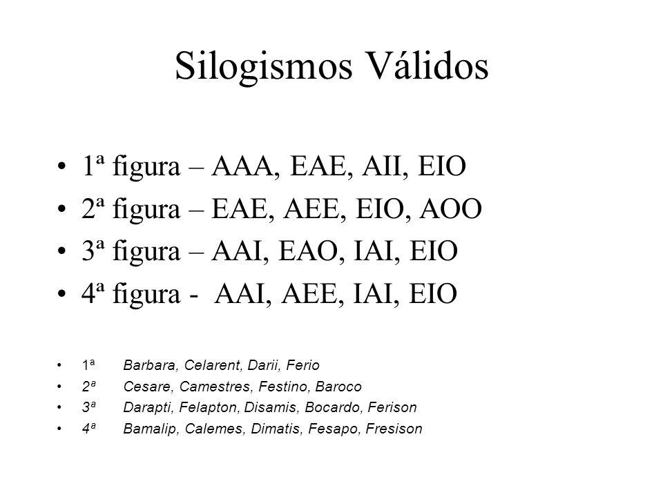 Silogismos Válidos 1ª figura – AAA, EAE, AII, EIO 2ª figura – EAE, AEE, EIO, AOO 3ª figura – AAI, EAO, IAI, EIO 4ª figura - AAI, AEE, IAI, EIO 1ªBarba
