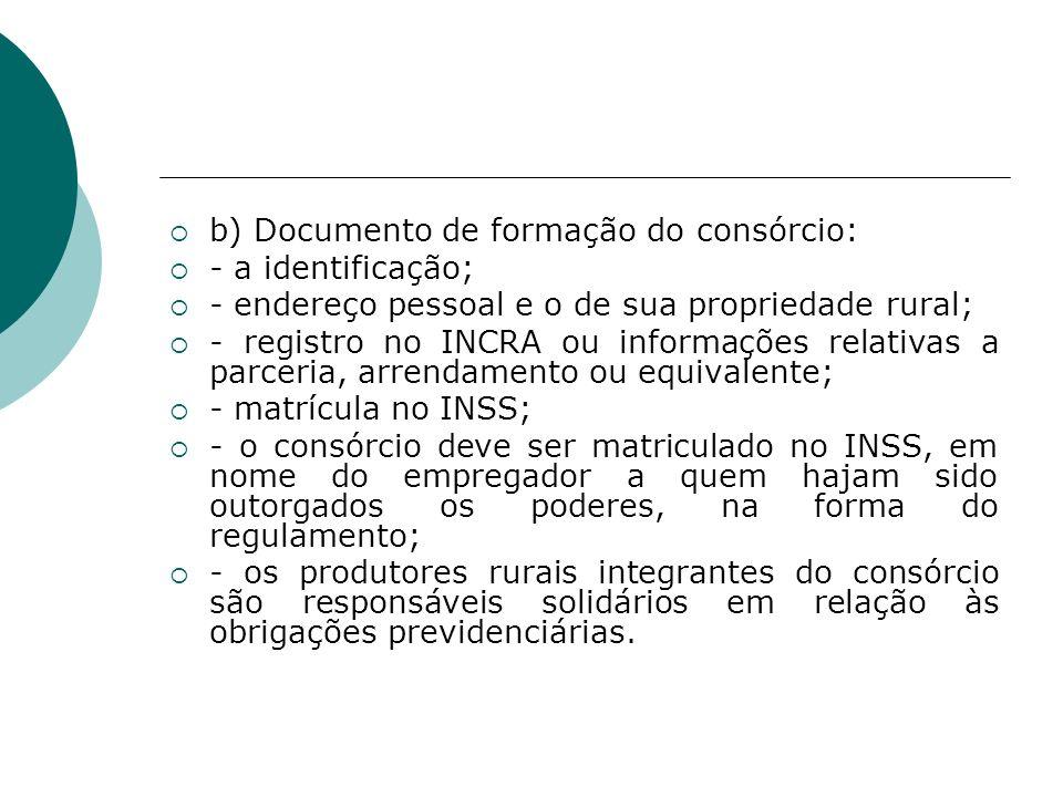 b) Documento de formação do consórcio: - a identificação; - endereço pessoal e o de sua propriedade rural; - registro no INCRA ou informações relativa