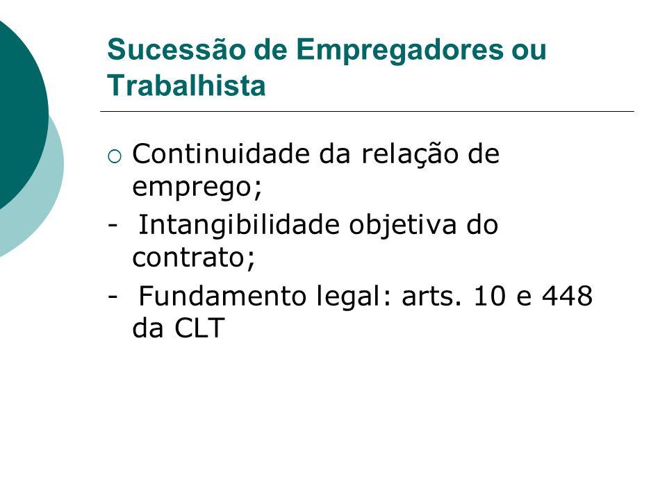 Sucessão de Empregadores ou Trabalhista Continuidade da relação de emprego; - Intangibilidade objetiva do contrato; - Fundamento legal: arts. 10 e 448