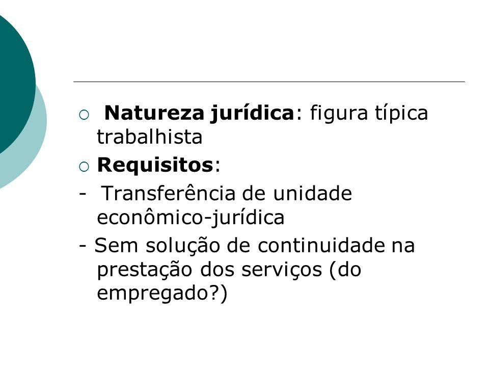 Natureza jurídica: figura típica trabalhista Requisitos: - Transferência de unidade econômico-jurídica - Sem solução de continuidade na prestação dos serviços (do empregado?)