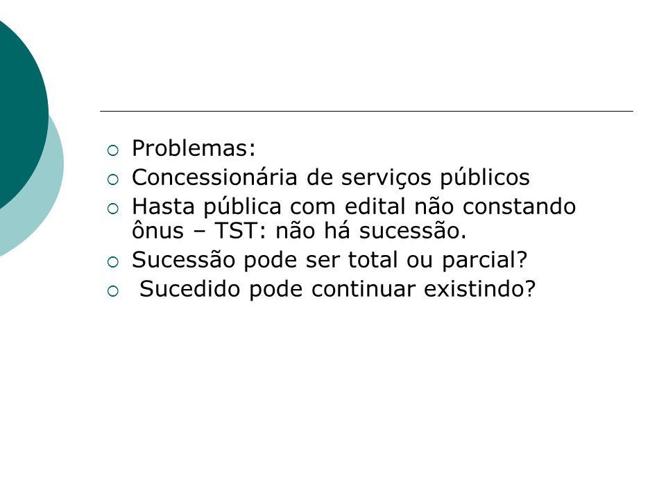 Problemas: Concessionária de serviços públicos Hasta pública com edital não constando ônus – TST: não há sucessão. Sucessão pode ser total ou parcial?