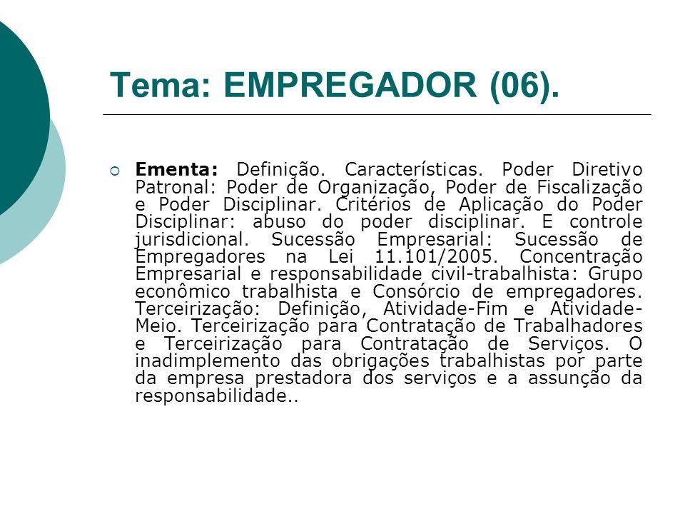 Tema: EMPREGADOR (06). Ementa: Definição. Características. Poder Diretivo Patronal: Poder de Organização, Poder de Fiscalização e Poder Disciplinar. C