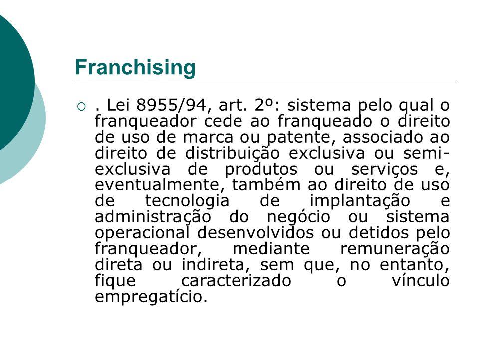 Franchising. Lei 8955/94, art. 2º: sistema pelo qual o franqueador cede ao franqueado o direito de uso de marca ou patente, associado ao direito de di