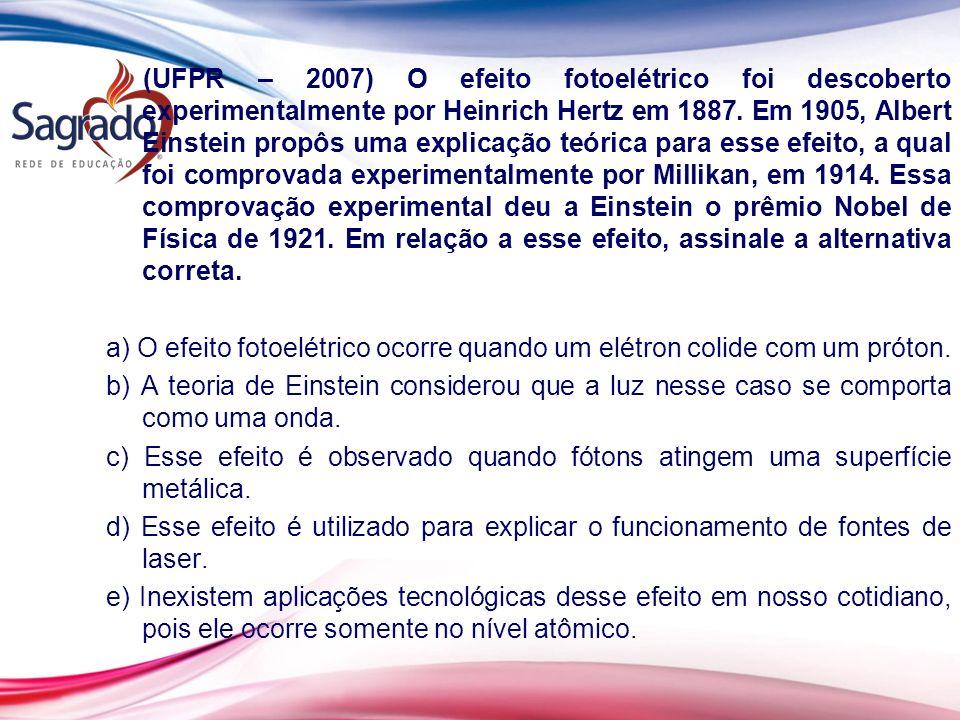 (UFPR – 2007) O efeito fotoelétrico foi descoberto experimentalmente por Heinrich Hertz em 1887. Em 1905, Albert Einstein propôs uma explicação teóric