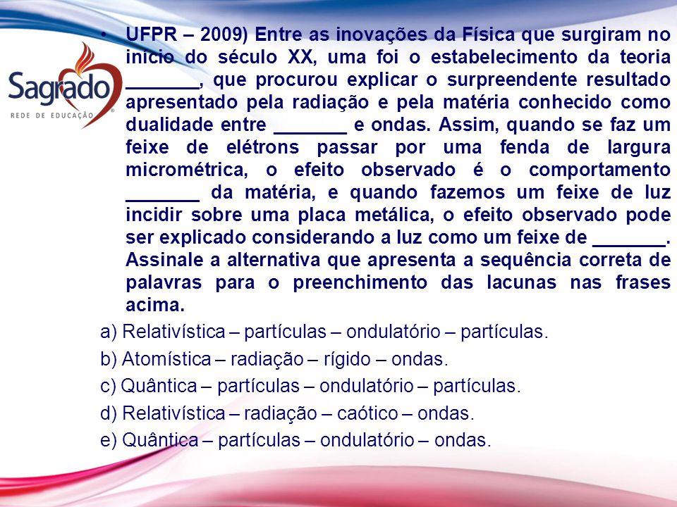 UFPR – 2009) Entre as inovações da Física que surgiram no início do século XX, uma foi o estabelecimento da teoria _______, que procurou explicar o su
