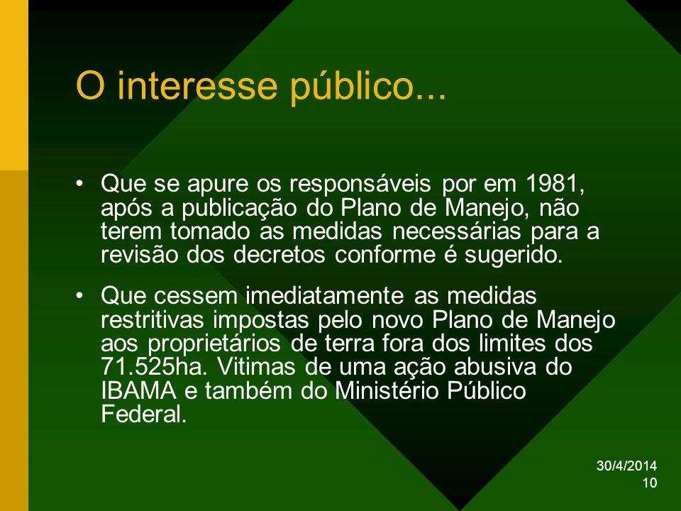 30/4/2014 10 O interesse público... Que se apure os responsáveis por em 1981, após a publicação do Plano de Manejo, não terem tomado as medidas necess