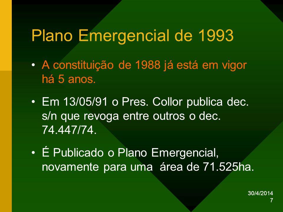 30/4/2014 7 Plano Emergencial de 1993 A constituição de 1988 já está em vigor há 5 anos. Em 13/05/91 o Pres. Collor publica dec. s/n que revoga entre