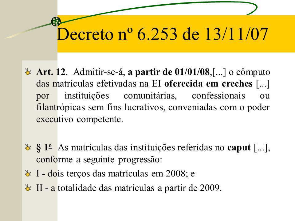 Decreto nº 6.253 de 13/11/07 Art.12.