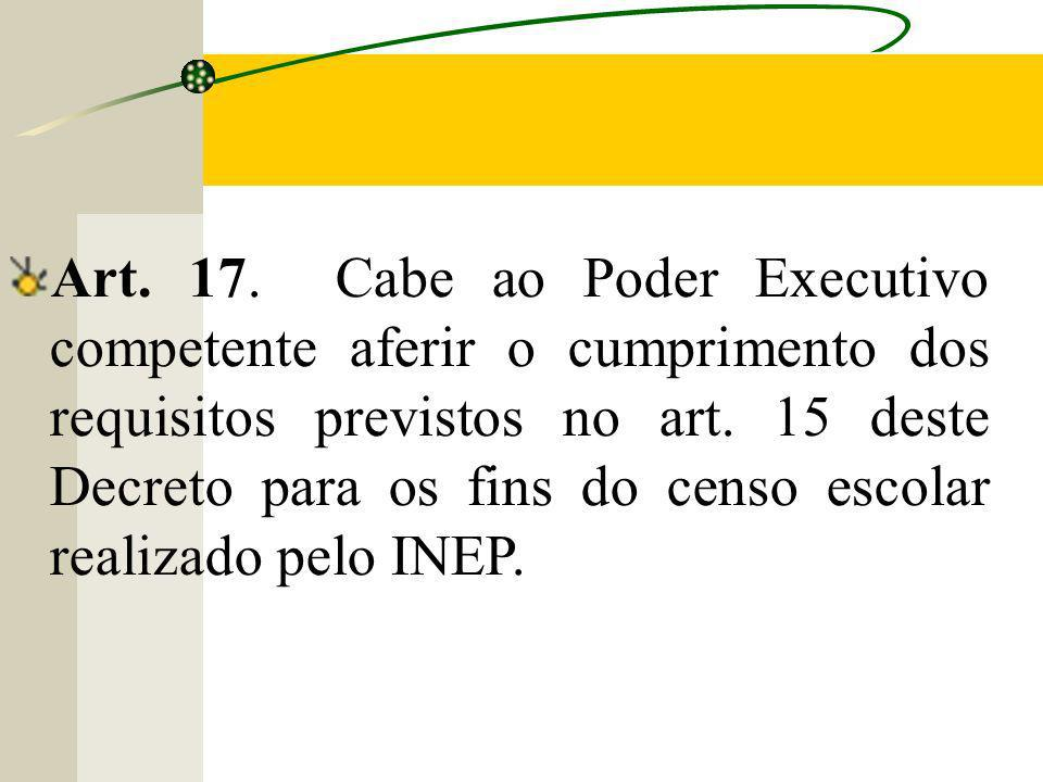 Art. 17. Cabe ao Poder Executivo competente aferir o cumprimento dos requisitos previstos no art.