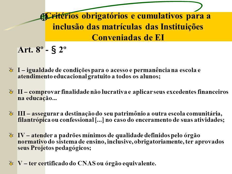 Critérios obrigatórios e cumulativos para a inclusão das matrículas das Instituições Conveniadas de EI Art.