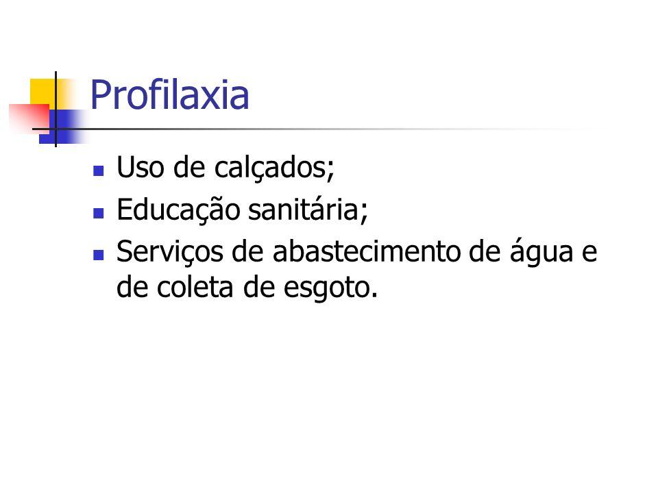 Profilaxia Uso de calçados; Educação sanitária; Serviços de abastecimento de água e de coleta de esgoto.