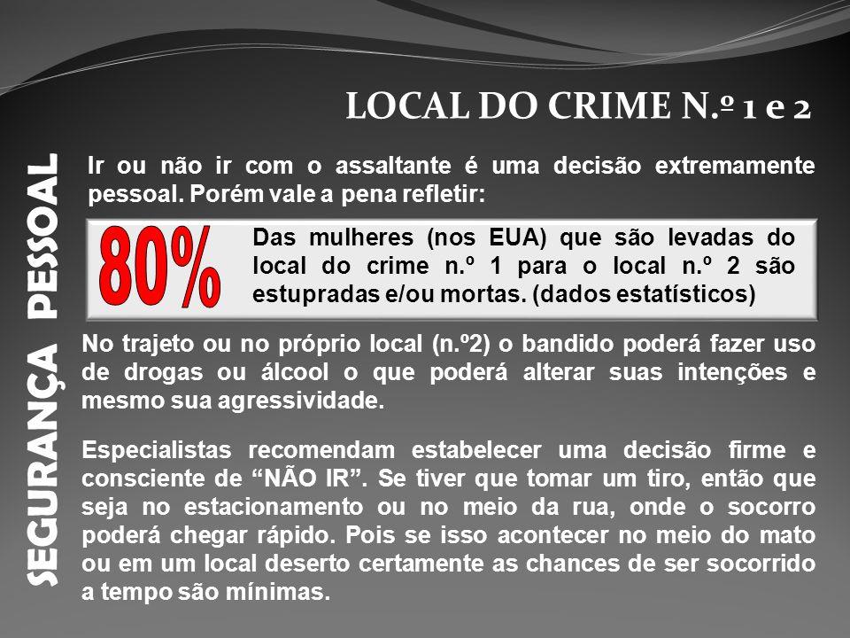 SEGURANÇA PESSOAL LOCAL DO CRIME N.º 1 e 2 Ir ou não ir com o assaltante é uma decisão extremamente pessoal. Porém vale a pena refletir: Especialistas