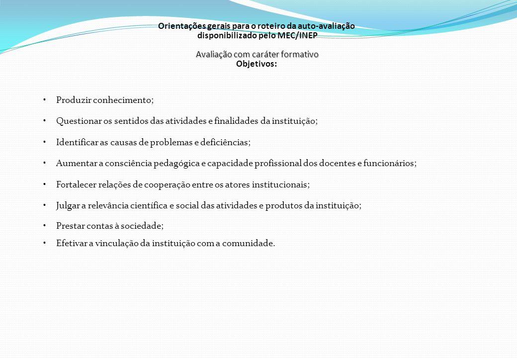 Avaliação com caráter formativo Orientações gerais para o roteiro da auto-avaliação disponibilizado pelo MEC/INEP Avaliação com caráter formativo Obje
