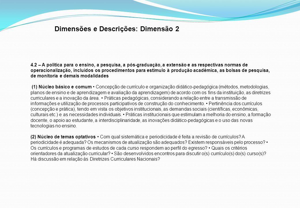 Dimensões e Descrições: Dimensão 2 4.2 – A política para o ensino, a pesquisa, a pós-graduação, a extensão e as respectivas normas de operacionalizaçã