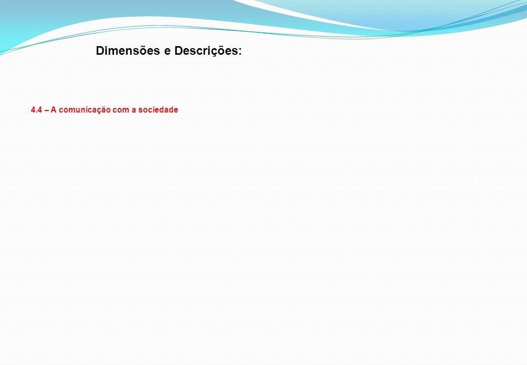 Dimensões e Descrições: 4.4 – A comunicação com a sociedade