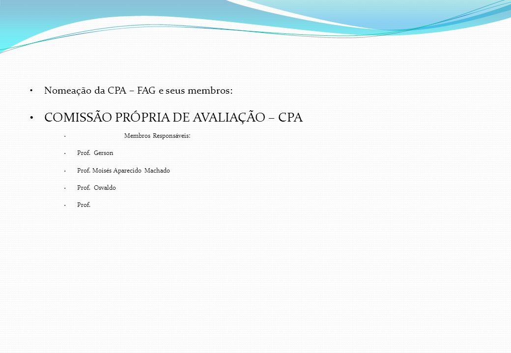 Nomeação da CPA – FAG e seus membros: COMISSÃO PRÓPRIA DE AVALIAÇÃO – CPA Membros Responsáveis: Prof. Gerson Prof. Moisés Aparecido Machado Prof. Osva