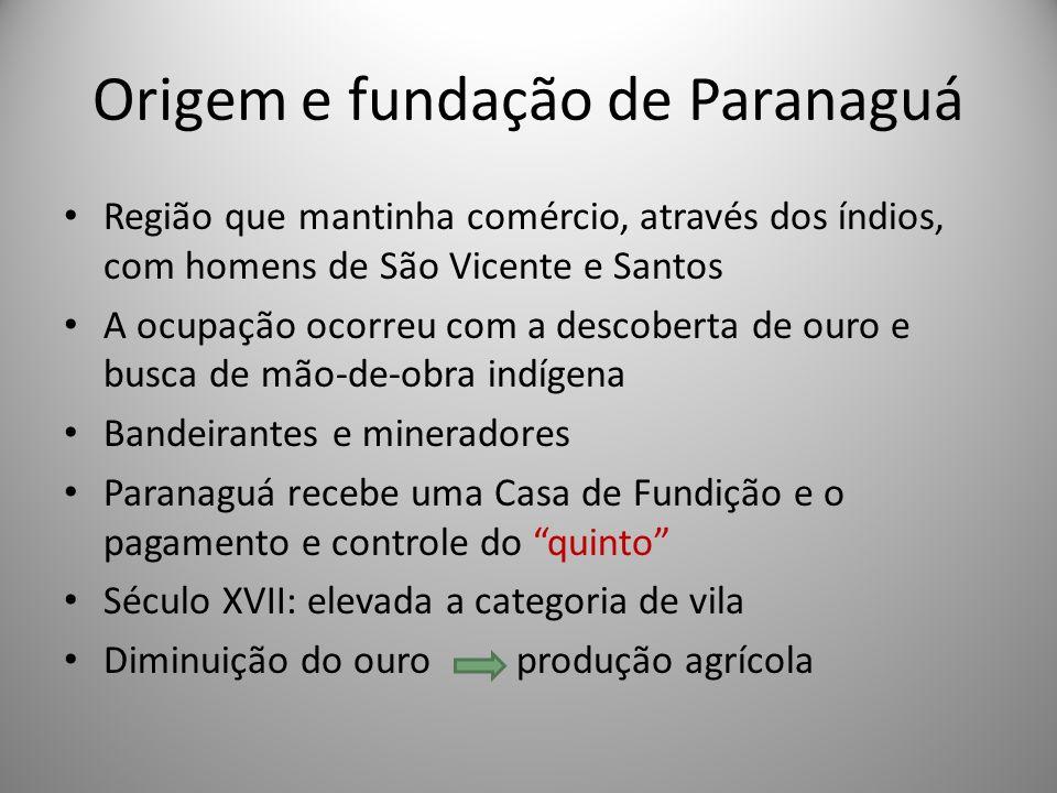 Origem e fundação de Paranaguá Região que mantinha comércio, através dos índios, com homens de São Vicente e Santos A ocupação ocorreu com a descobert