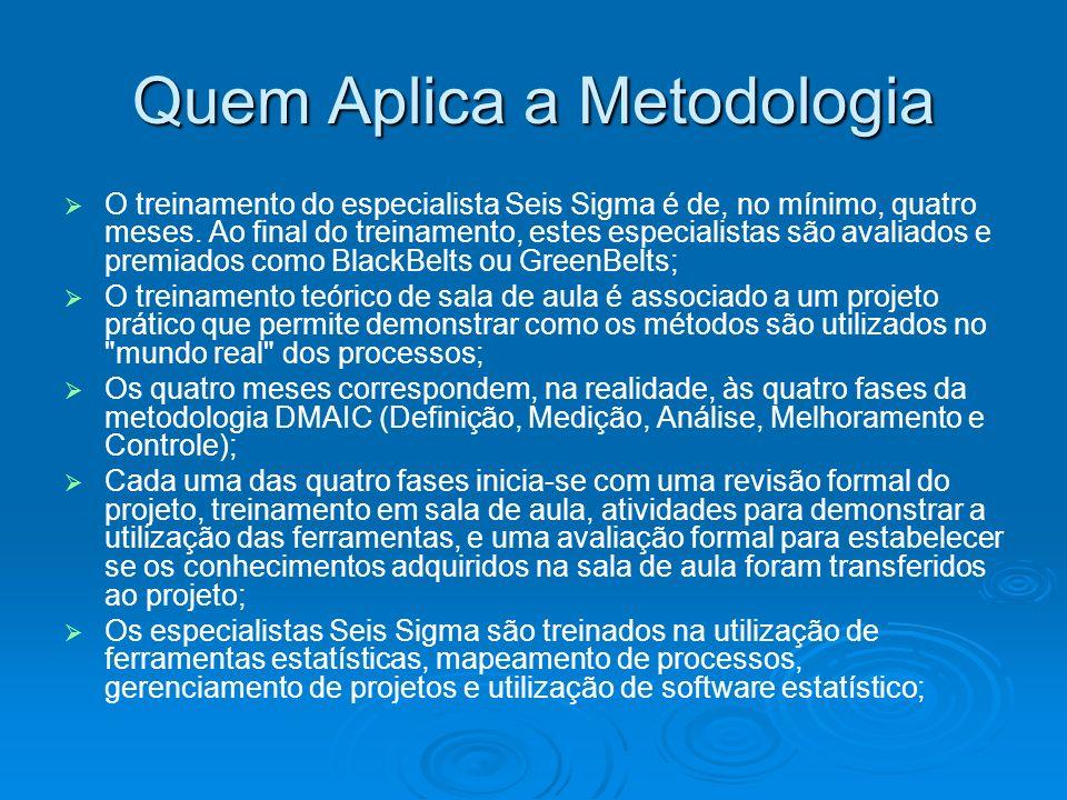Quem Aplica a Metodologia O treinamento do especialista Seis Sigma é de, no mínimo, quatro meses.
