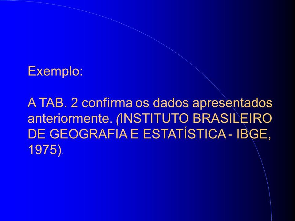 Exemplo: A TAB. 2 confirma os dados apresentados anteriormente.