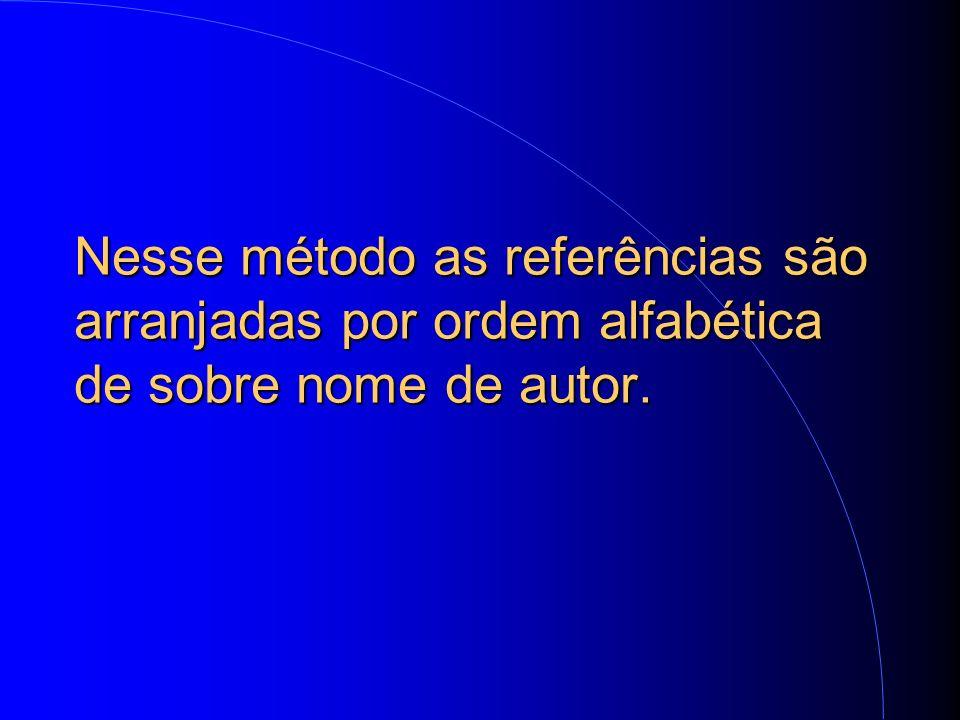 Nesse método as referências são arranjadas por ordem alfabética de sobre nome de autor.
