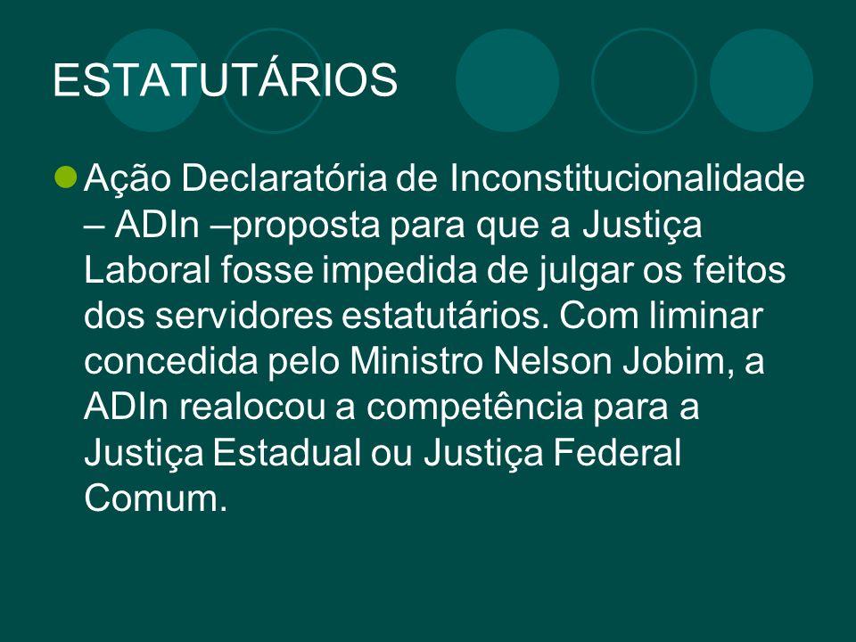 ESTATUTÁRIOS Ação Declaratória de Inconstitucionalidade – ADIn –proposta para que a Justiça Laboral fosse impedida de julgar os feitos dos servidores