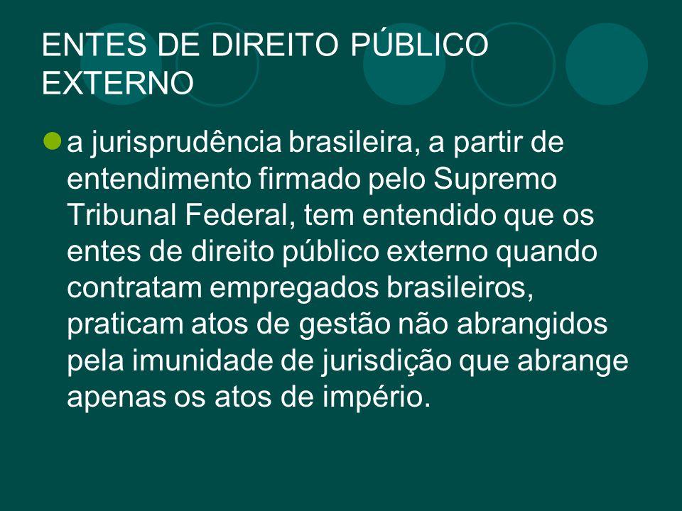 ENTES DE DIREITO PÚBLICO EXTERNO a jurisprudência brasileira, a partir de entendimento firmado pelo Supremo Tribunal Federal, tem entendido que os ent