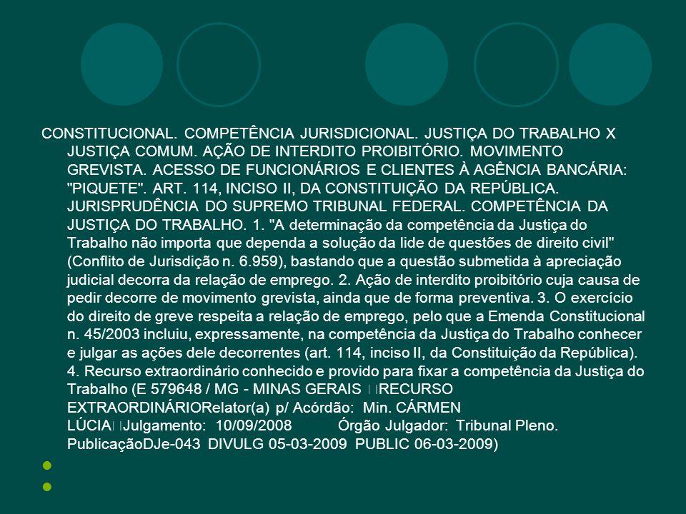 CONSTITUCIONAL. COMPETÊNCIA JURISDICIONAL. JUSTIÇA DO TRABALHO X JUSTIÇA COMUM. AÇÃO DE INTERDITO PROIBITÓRIO. MOVIMENTO GREVISTA. ACESSO DE FUNCIONÁR