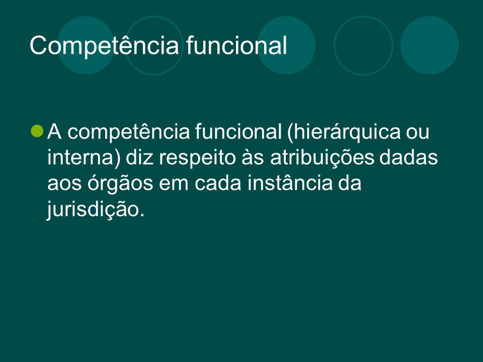 Competência funcional A competência funcional (hierárquica ou interna) diz respeito às atribuições dadas aos órgãos em cada instância da jurisdição.