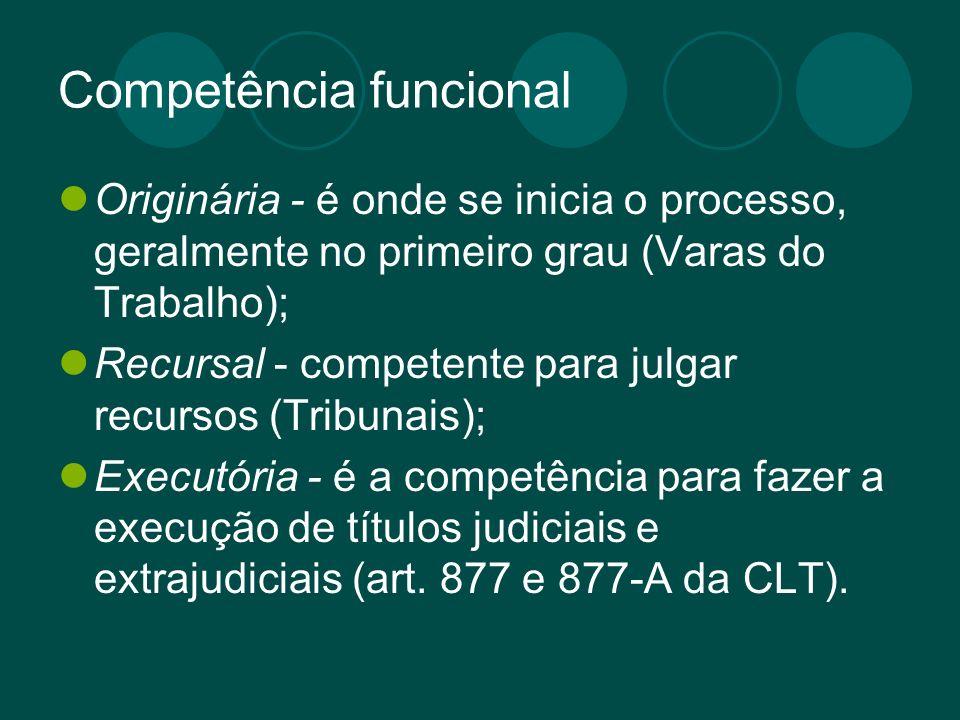 Competência funcional Originária - é onde se inicia o processo, geralmente no primeiro grau (Varas do Trabalho); Recursal - competente para julgar rec