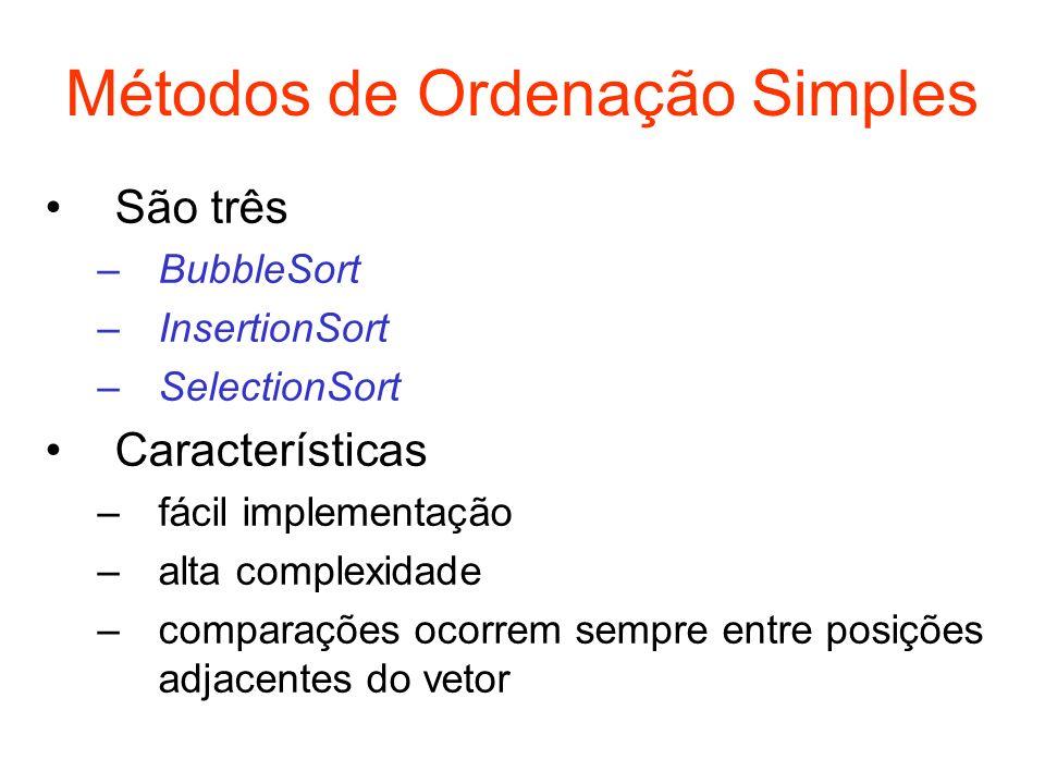 Métodos de Ordenação Simples São três –BubbleSort –InsertionSort –SelectionSort Características –fácil implementação –alta complexidade –comparações o