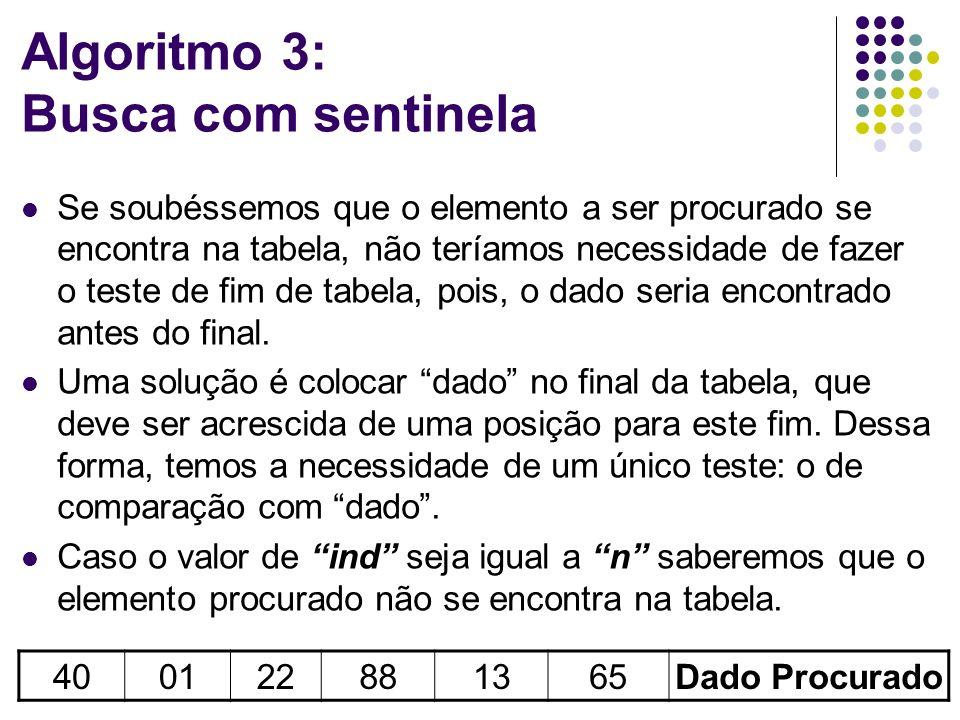Algoritmo 3: Busca com sentinela Se soubéssemos que o elemento a ser procurado se encontra na tabela, não teríamos necessidade de fazer o teste de fim de tabela, pois, o dado seria encontrado antes do final.