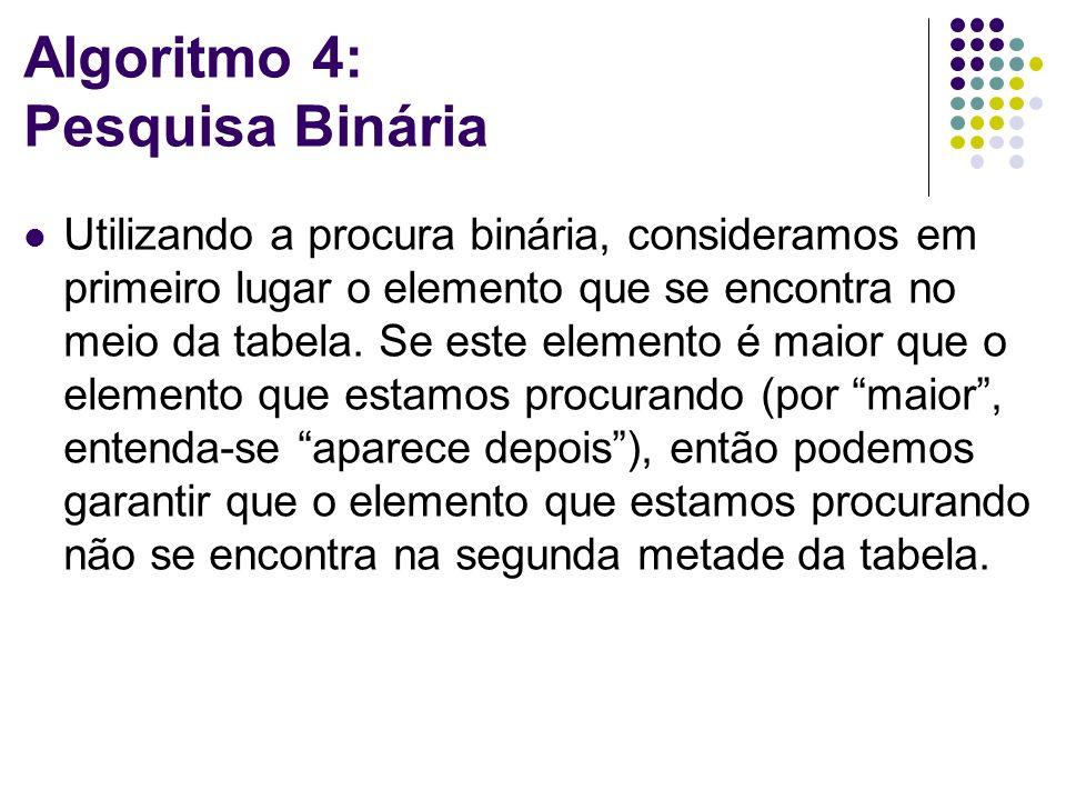 Algoritmo 4: Pesquisa Binária Utilizando a procura binária, consideramos em primeiro lugar o elemento que se encontra no meio da tabela.
