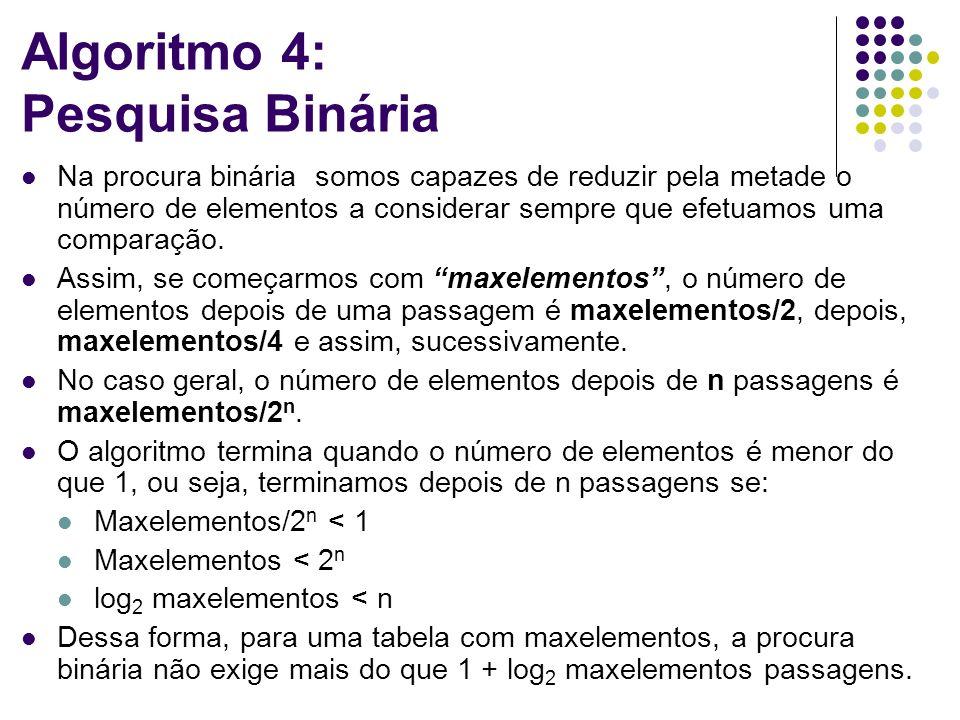 Algoritmo 4: Pesquisa Binária Na procura binária somos capazes de reduzir pela metade o número de elementos a considerar sempre que efetuamos uma comparação.