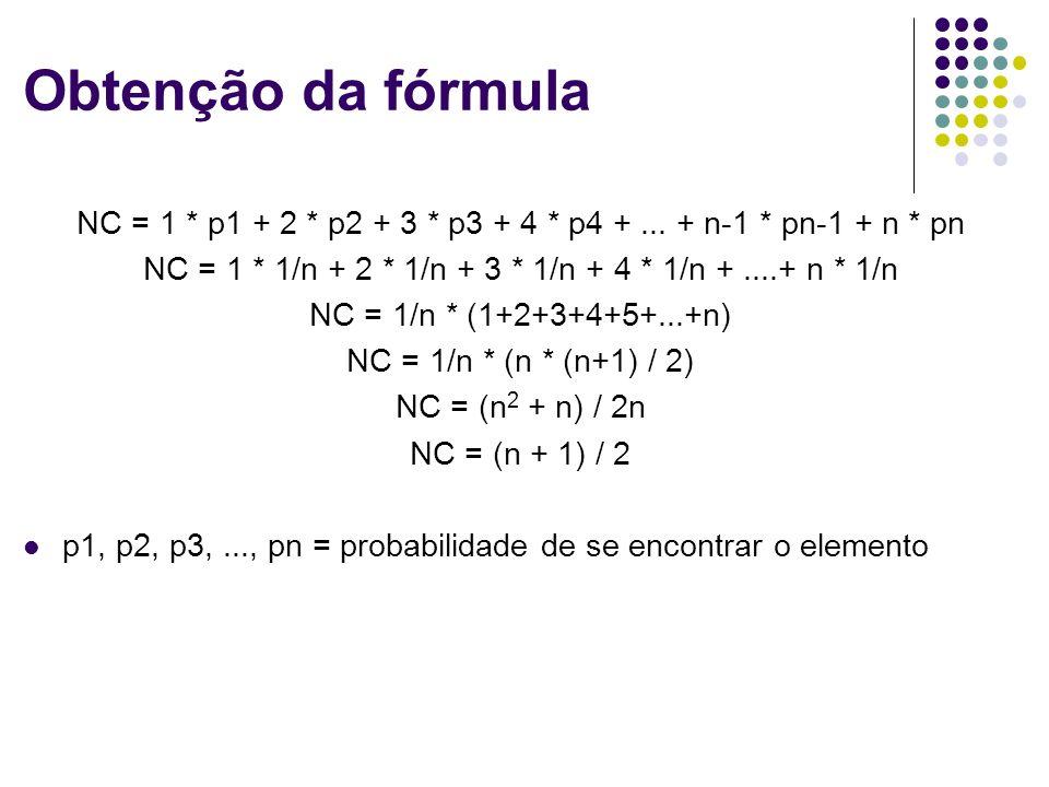 Obtenção da fórmula NC = 1 * p1 + 2 * p2 + 3 * p3 + 4 * p4 +... + n-1 * pn-1 + n * pn NC = 1 * 1/n + 2 * 1/n + 3 * 1/n + 4 * 1/n +....+ n * 1/n NC = 1