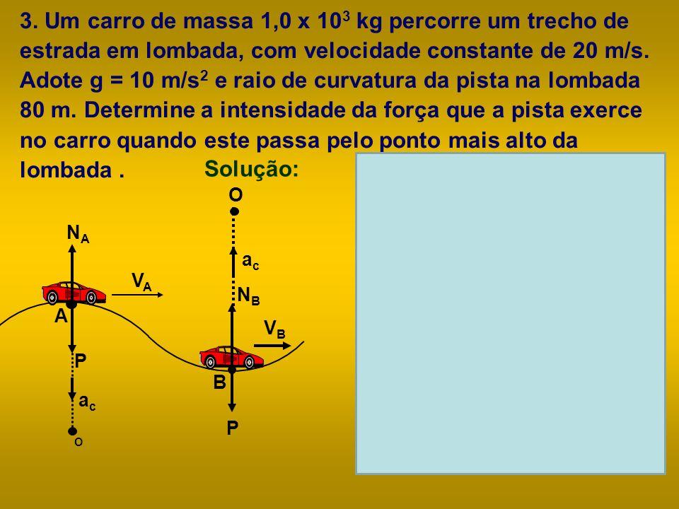 3. Um carro de massa 1,0 x 10 3 kg percorre um trecho de estrada em lombada, com velocidade constante de 20 m/s. Adote g = 10 m/s 2 e raio de curvatur
