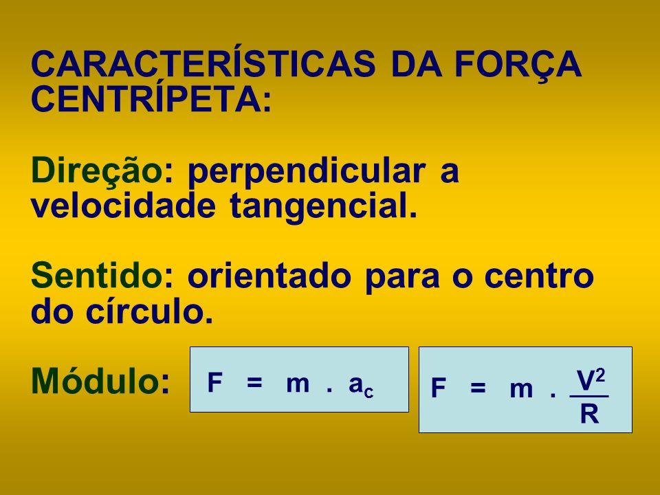 CARACTERÍSTICAS DA FORÇA CENTRÍPETA: Direção: perpendicular a velocidade tangencial. Sentido: orientado para o centro do círculo. Módulo: F = m. V 2 R