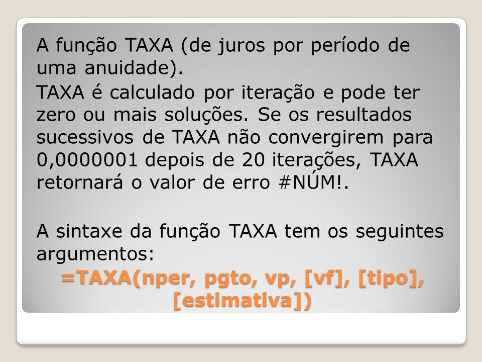 A função TAXA (de juros por período de uma anuidade). TAXA é calculado por iteração e pode ter zero ou mais soluções. Se os resultados sucessivos de T
