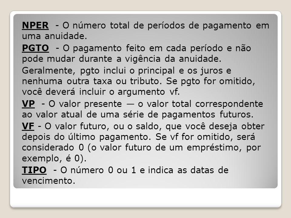 NPER - O número total de períodos de pagamento em uma anuidade. PGTO - O pagamento feito em cada período e não pode mudar durante a vigência da anuida