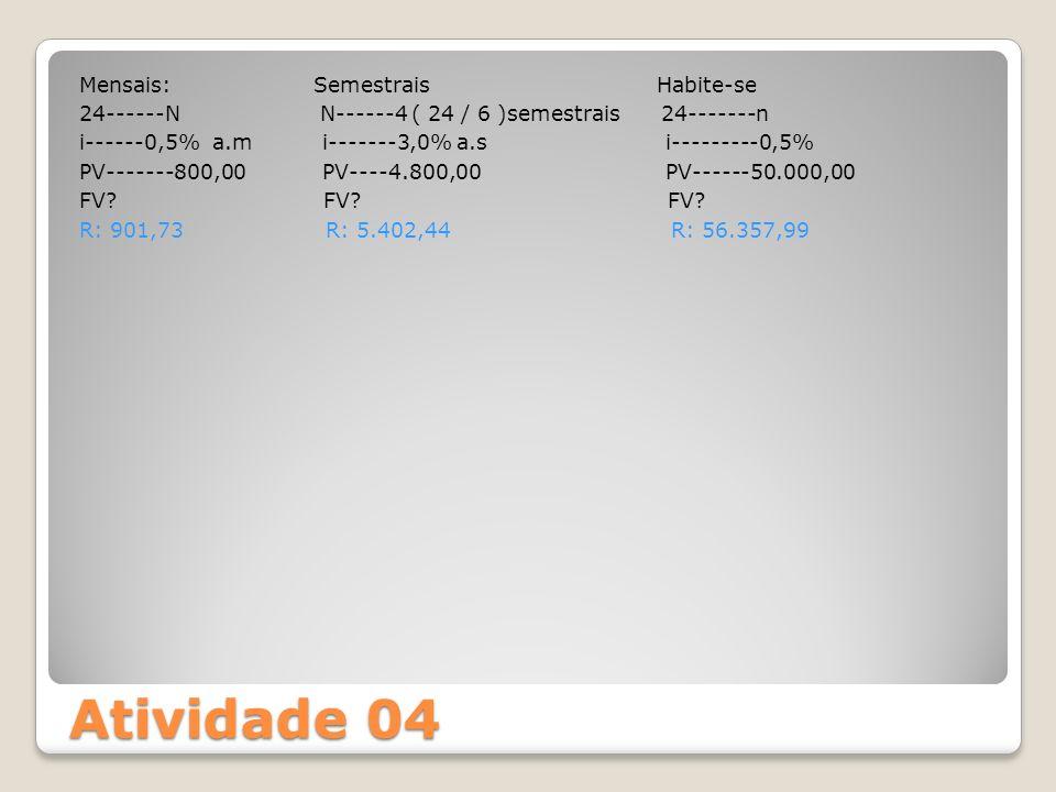 Atividade 04 Mensais: Semestrais Habite-se 24------N N------4 ( 24 / 6 )semestrais 24-------n i------0,5% a.m i-------3,0% a.s i---------0,5% PV------