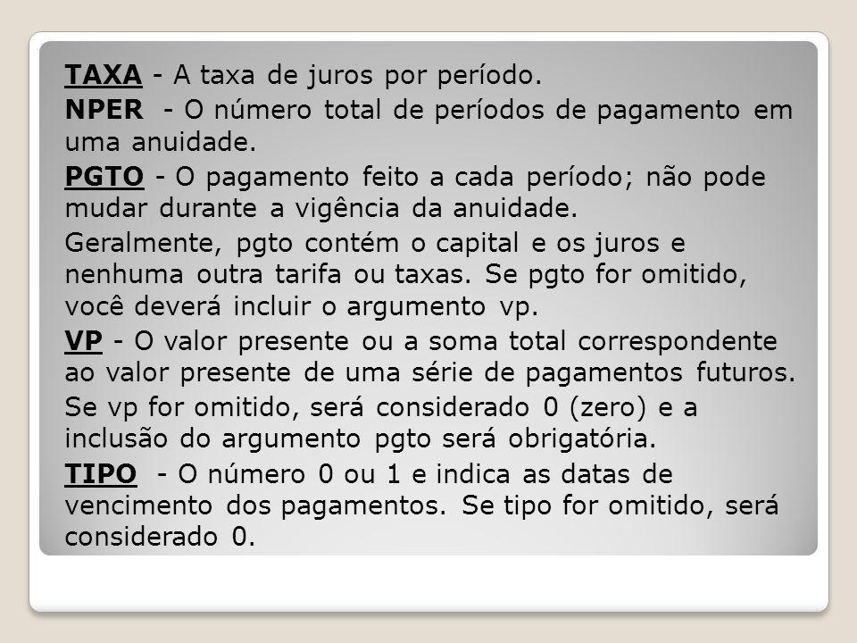 TAXA - A taxa de juros por período. NPER - O número total de períodos de pagamento em uma anuidade. PGTO - O pagamento feito a cada período; não pode