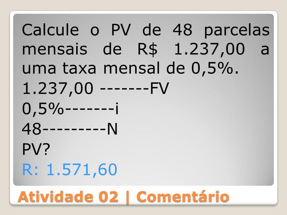 Atividade 02 | Comentário Calcule o PV de 48 parcelas mensais de R$ 1.237,00 a uma taxa mensal de 0,5%. 1.237,00 -------FV 0,5%-------i 48---------N P