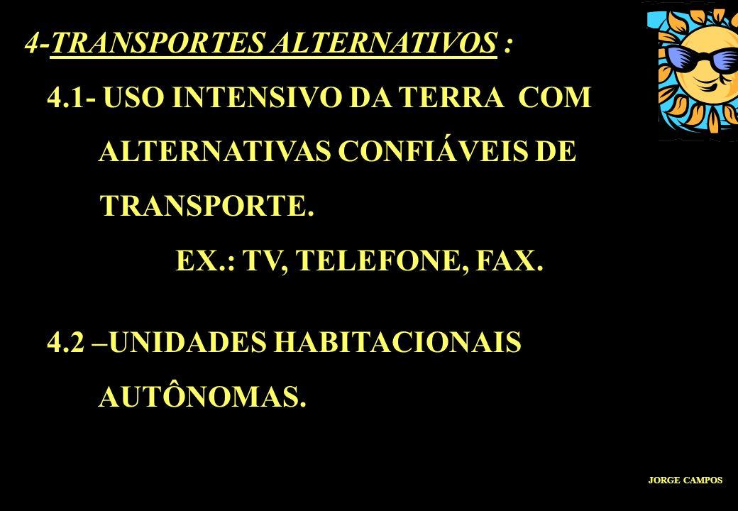 4-TRANSPORTES ALTERNATIVOS : 4.1- USO INTENSIVO DA TERRA COM ALTERNATIVAS CONFIÁVEIS DE TRANSPORTE. EX.: TV, TELEFONE, FAX. 4.2 –UNIDADES HABITACIONAI