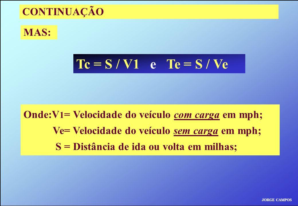 JORGE CAMPOS CONTINUAÇÃO MAS: Tc = S / V1 e Te = S / Ve Onde:V 1 = Velocidade do veículo com carga em mph; Ve= Velocidade do veículo sem carga em mph;
