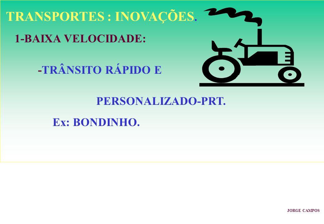 TRANSPORTES : INOVAÇÕES. 1-BAIXA VELOCIDADE: -TRÂNSITO RÁPIDO E PERSONALIZADO-PRT. Ex: BONDINHO. JORGE CAMPOS
