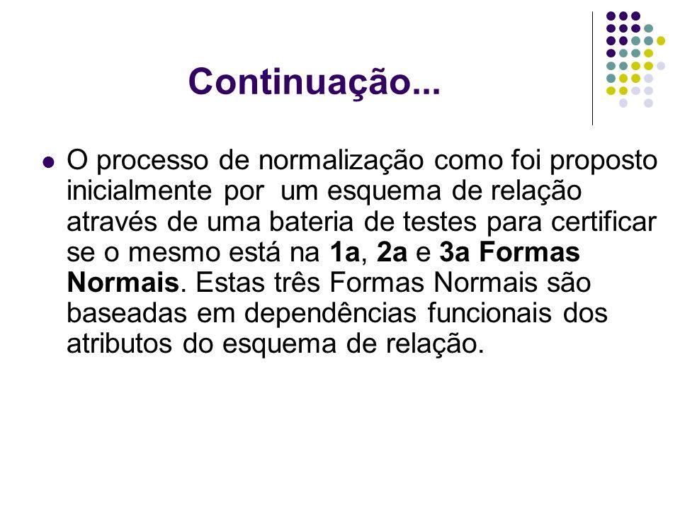 Continuação... O processo de normalização como foi proposto inicialmente por um esquema de relação através de uma bateria de testes para certificar se