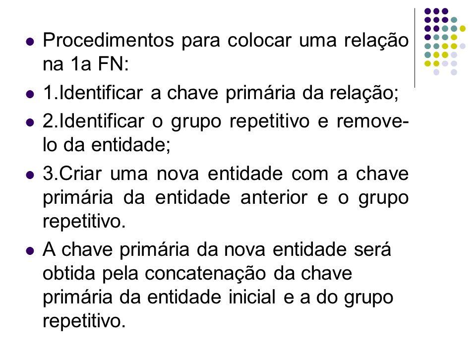 Procedimentos para colocar uma relação na 1a FN: 1.Identificar a chave primária da relação; 2.Identificar o grupo repetitivo e remove- lo da entidade;